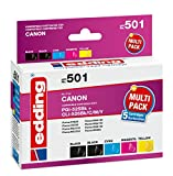 edding Tintenpatrone EDD-501 ersetzt Canon PGI-525/CLI-526BK/C/M/Y Multipack 5 - 2x Schwarz, Cyan, Magenta, Gelb - 1x 20,0 + 4x 10,5ml