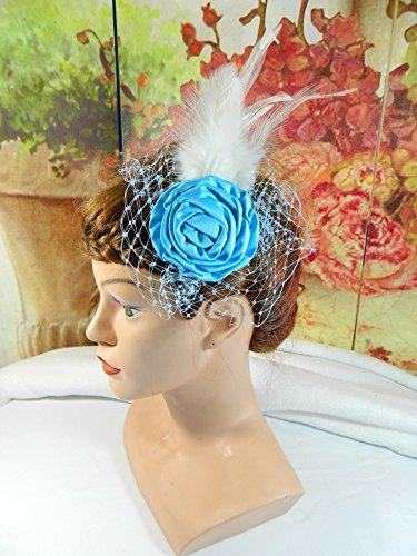 Brautschmuck blau Creme Haarclip Fascinator Haarschmuck Hochzeit Trauung Kirchlich Standesamtlich Formal Brauthut