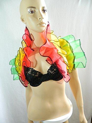 Organza Stola rot grün gelb Wrap Shrug Bolero Karneval Dragqueen Burlesque