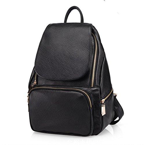 Borsa Del Giorno Del College Daypack Del Sacchetto Di Zaino Di Cuoio Dell'unità Di Elaborazione Di Modo Per La Ragazza Delle Donne Black1