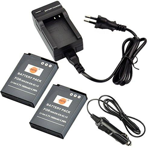 DSTE 2 Pieza Repuesto Batería y DC03E Viaje Cargador kit para Nikon EN EL12 Coolpix P300 P310 P330 P340 S31 S70 S610 S620 S630 S640 S800c S1000pj S1100pj S1200pj S6000 S6100 S6150 S6200 S6300