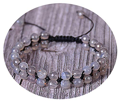 Sunwd Bracciale da donna, Braccialetto Bracciali, New Faceted India Onyx Double Row Beaded Bracelet Adjustable Double Layer Handwoven Braided Natural Stone Bracelets For Gifts Gray Agate