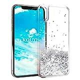 KOUYI Cover iPhone XS/X, 3D Glitter Chiaro Liquido Silicone TPU Bumper Telefoni Telefono Cellulari Protezione Cover,3D Bling Protettiva Case Custodia per Apple iPhone X (Argento)