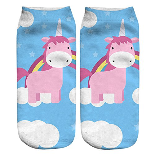 3D Socken Womens Mens Einhorn Cartoon Tiere Boot Knöchel (d)