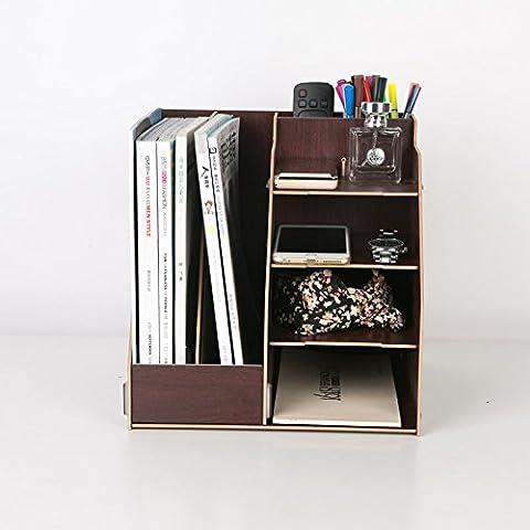 Archivo de madera estante archivo desktop admite múltiples capas de color personalizado archivos Revista rack , admitir nuez