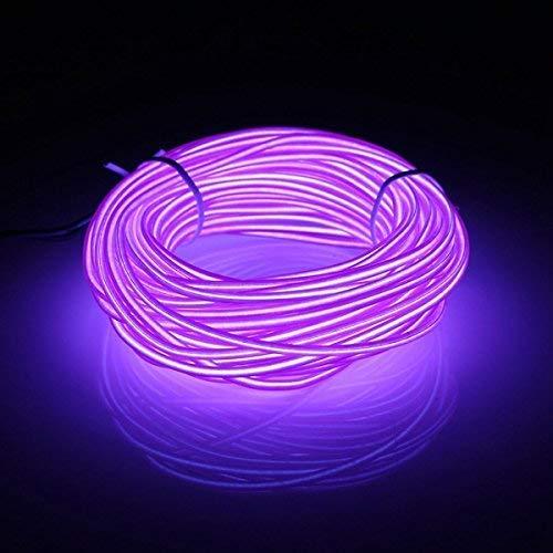 5 M, EL Wire Draht Neon, Mit Batterie Trafo, für Weihnachtsfeiern, Halloween Rave Partys(Lila)