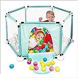 Bettgitter NAN Liang Kinder 6-Panel Playard Laufstall Tragbares, atmungsaktives Mesh für Kleinkinder, Innen- und Außenbereich (Farbe : Blau)