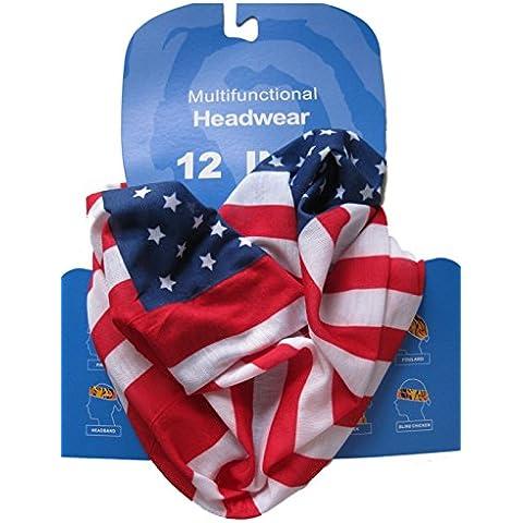 Braga para el cuello, pañuelo de microfibra multifunción, diseño de barras y estrellas de la bandera USA