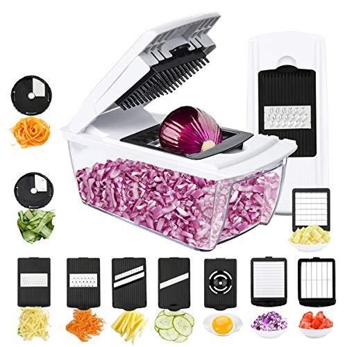 TATUFY Gemüseschneider Obstschneider kartoffelschneider, 10 in 1 Mutischneider Gemüsehobel mit Messereinsätzen Handschuh zum Würfeln/Scheiben/Reiben/Hobeln/Raspeln und Eiertrennen