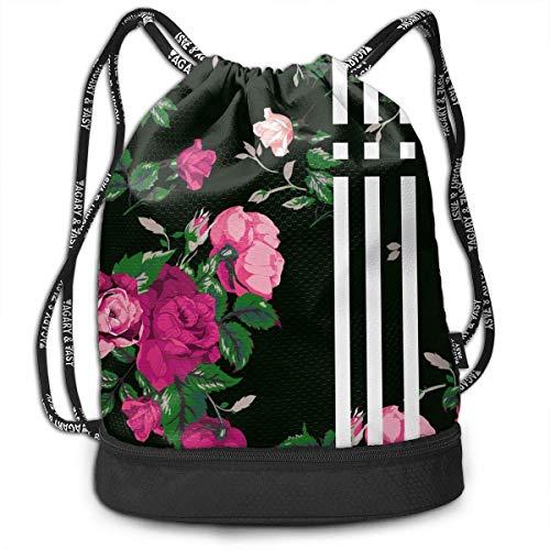 Juziwen Red Rose Large Drawstring Sport Backpack Sack Bag ()