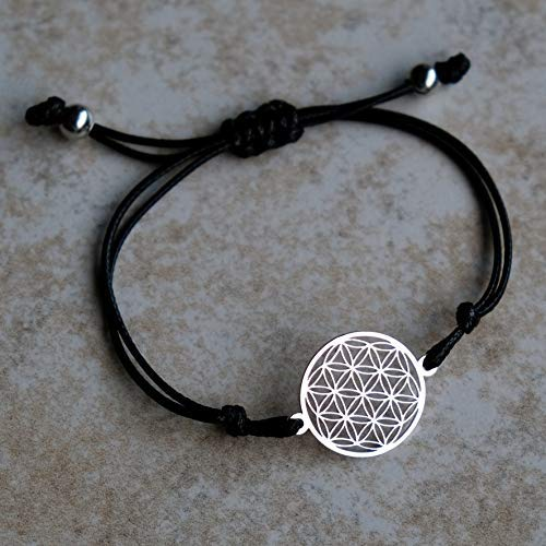 Armband FLORELIA Zugarmband schwarzes Textil Band verstellbar Damen Blume des Lebens Lebensblume Zugverschluss