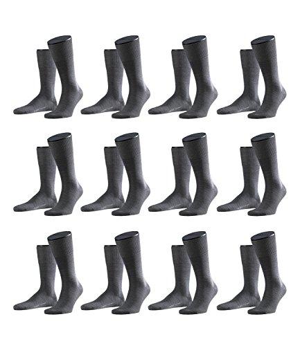 Preisvergleich Produktbild FALKE Herren Airport Socken Strümpfe 14435 12 Paar, Farbe:Grau;Sockengröße:41-42;Artikel:14435-3070 dark grey mel.