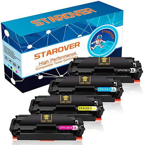 STAROVER 4x Kompatibel Tonerkartuschen für HP 410X 410A (CF410X CF411X CF412X CF413X) Toner Patronen, für HP Color LaserJet Pro M377dw M452nw M452dw M452dn M477fdn M477fnw M477fdw - 1 Schwarz + 1 Cyan + 1 Magenta + 1 Gelb