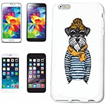 """Borde Cubierta del Teléfono inteligente Samsung Galaxy S6 """"DIVERTIDO Schnauzer en uniforme de marinero SCHNAUZER CRIADOR DE PERROS CASA pelo duro SCHNAUZER MINIATURA DEL PERRO DE PERRITO DE RAZA"""" Cubierta Cubierta del Caso de la elegante de Shell duro de Protección párr El Teléfono Celular Samsung Galaxy S6 Edge en White"""