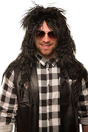schwarz Herrenperücke Langhaar Lang lockig Heavy Metal Alice Cooper Rambo Metaler 80er ()