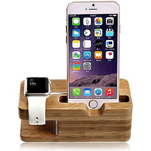 Madera Reloj y estación de carga de teléfono, Koiiko® Carga iWatch bambú 2en 1estación de carga Dock Soporte Stock Soporte para Apple Watch, iPhone, Samsung Galaxy S6S5S4S3Note 32y otros teléfonos