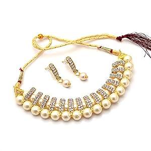 Jewar Mandi Kundan Off White Gold Plated Bridal Necklace Set Handmade Look Diamond for Women and Girls