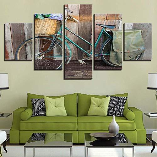 Yyjyxd HD Drucke Wohnkultur Leinwand Malerei 5 Stücke Holzwandkunst Modulare Vintage/Retro Bike Bilder Für Wohnzimmer Kunstwerk Poster-16x24/32/40inch,With frame