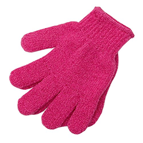 Loofah éponge laveur Éponge Débarbouillette Nylon Five Finger Gloves Rose