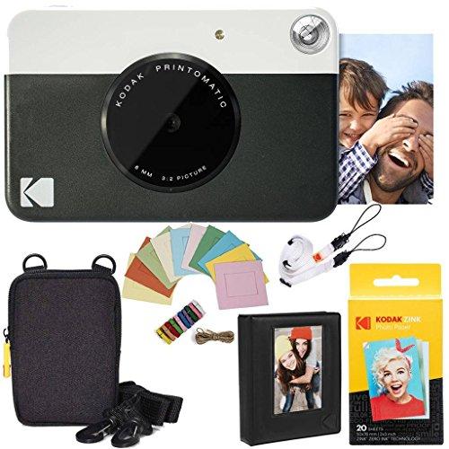 Kodak pacchetto deluxe per fotocamera istantanea printomatic (nero) + carta zink (20 fogli) + custodia deluxe + album fotografico + cornici appendibili + comoda tracolla