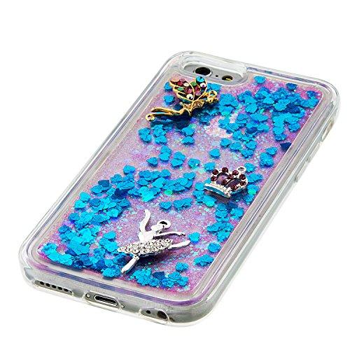 Case iPhone 6 / 6S 3D Bling Diamant Design Coque, Sunroyal Glitter Bling Bling Dual Layer en Soft TPU Silicone Housse Transparent Clair Back Cover Strass Cristal Protecteur Étui Paillettes Flottant Li A-01