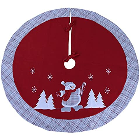 Wewill Brand Luxury Thick Christmas Tree Skirt Embroidered Snowman with Tartan Design Home Ornament-35-Inch/ 90CM Diameter(Style 5)