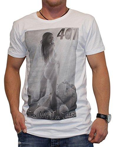 40by1, Herren T-Shirt, Tired Ted, white, 40/1-14-057, GR M