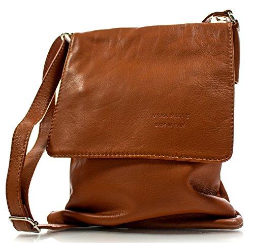 6e10894128e97 Echt Leder Umhängetasche Damen Tasche Handtasche Ledertasche Schultertasche  (braun) cognac