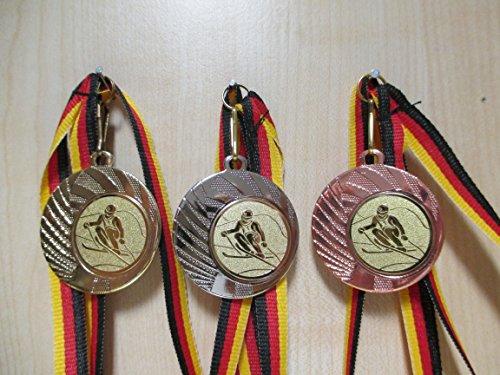 Medaillen Set - Stahl 40mm - Ski - Slalom - Gold, Silber, Bronze -Medaillenset - Emblem 25mm, Gold