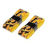 Sharplace Bande Ruban Adhésive Anti-Dérapant pour Poignée de Raquette de Tennis Squash Badminton Bicyclette Grip Tape Remplacement - Jaune et Orange, 115 × 2,5 cm