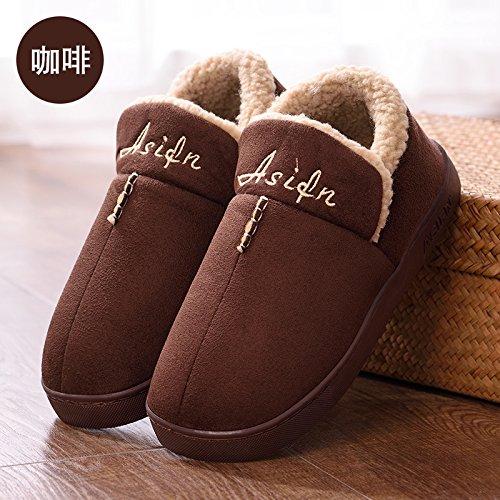 DogHaccd pantofole,Paio di pantofole di cotone alta femmina-pacchetto con elegante anti-slittamento interno e al di fuori della casa del anti-slittamento di spessore caldo cotone pantofole per uomini Il caffè1