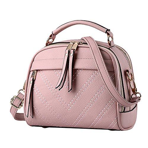 Donne PU Pelle Colore Puro Semplice Borse a Spalla Bauletto Borsetta Nero Pink