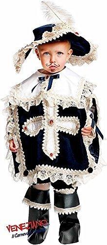 e Prestige Deluxe Baby &ältere Jungen Musketier Historische Karneval Halloween Kostüm Kleid Outfit 0-12 Jahre - Creme, 3 Years ()
