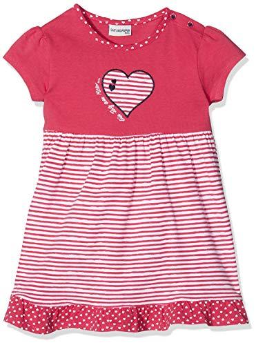 -Mädchen B Dress Meer Stripe Herz Kleid, Rot (Hibiscus 360), 86 ()