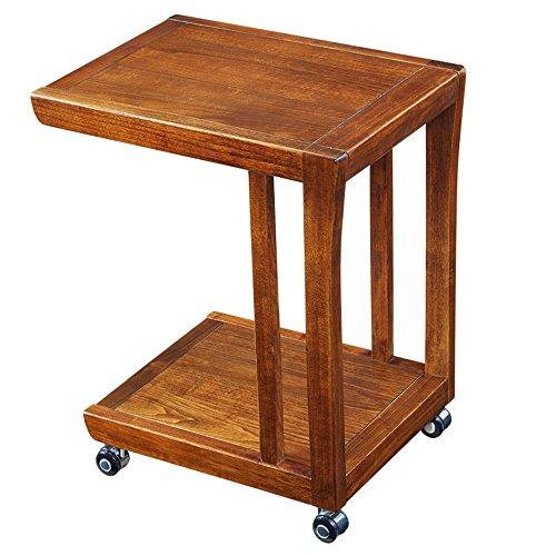 HAIZHEN Étagères de rangement Table basse de table de bout de table d'extrémité de Tableau latéral avec des étagères de stockage, bibliothèque de 2 rangées sur des roues L50 * W38 * H60 cm Forte stabilité