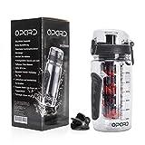 Bottiglia per agitatore proteico Opard 800ML BPA Bottiglia per miscelatore tritan libero Flip-top Flip-top Sports Shaker Cup per palestra, scuola e ufficio (Nero)