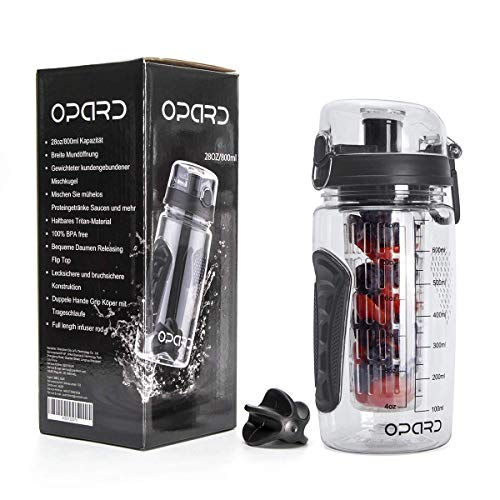 Opard Trinkflasche mit Früchtebehälter 946ml Wasserflasche mit fruchteinsatz Infuser Sports Water Bottle Tritan BPA-frei Flasche mit Rezept und Pinsel (Schwarz 800ml, 800ml)