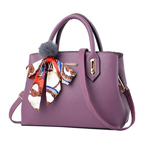Baymate Damen Elegant PU Ledertasche Handtasche Umhängetasche Schultertasche Tote Bag Dunkel Violett
