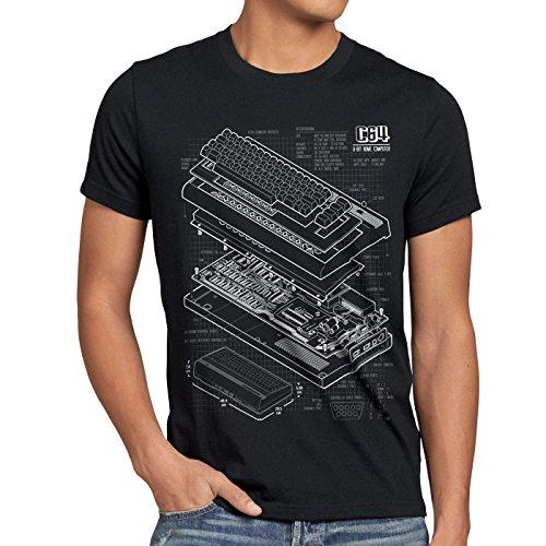 style3 C64 Heimcomputer Blaupause Herren T-Shirt Classic Gamer, Größe:L;Farbe:Schwarz