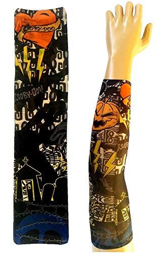 Manicotto tattoo - manica - tatuaggio finto - cuore - fulmini - scritta scooby doo - tomba - zucca di halloween - tatoo - mezza manica - tribale - idea regalo natale compleanno - w119