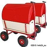 Helo 2 Stück Roter Bollerwagen mit Plane