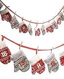 Adventskalender mit 24 Handschuh Taschen - Länge 250 cm - Adventskette zum befüllen