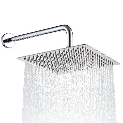 Drenky - Soffione doccia quadrato, 30,5 cm, in acciaio INOX, potente getto ad alta pressione