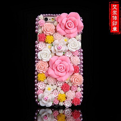 Coque iPhone 5/5S , iNenk® Fleurs fleurissent Téléphone Shell diamant Housse de protection Sur Le Forage Gem Retro Flower Fashion Cover Design Cas Case Rétro