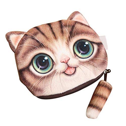 Gespout Bello Mini Portamonete da Donna Gatto Simulazione Plush Cat Tail Borsa per Bambini Cuffie Monete Chiavi Pacchetto di Archiviazione Giallo Marrone Può Trasportare