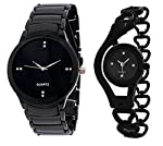 This watch is especially designed for all handsome Wo Women, who desire for a royal and luxurious look. Making it a party accessory for you. This watch has many key features like round black dail and black & silver metal chain with steel back cov...