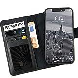 BEMFEY iPhone X | XS Case Monaco in Elegantem Premium Leder 2 in 1 Lösung mit magnetischer und herausnehmbarer Handyhülle aus dem Lederetui Made in Europe (Schwarz).