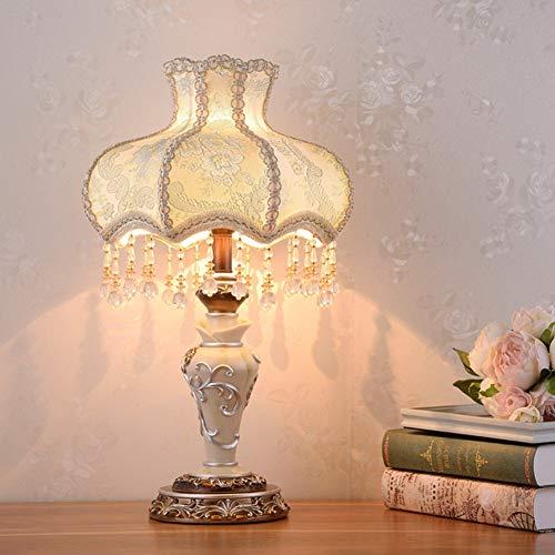 Jiesen-desk lamp Europäischen Stil Tischlampe Kreative Stoff Nachttischlampe Handgemachte Prinzessin Viktorianischen Stil Harz Lampe Körper Schreibtischlampe Verwenden E27 Birne W33*H55cm -