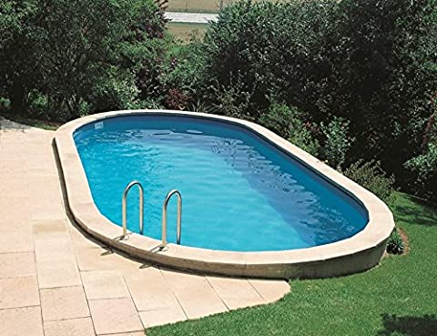 Piscine enterrée acier ovale 8.00m x 4.00m - H 1.20m - filtration 10m3/h