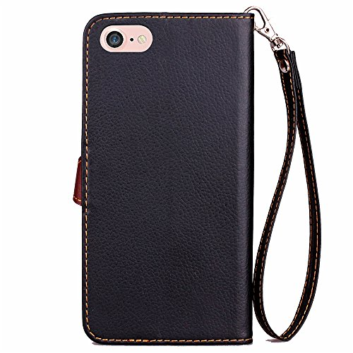 FindaGift iPhone 7 Hülle, Leaf Design PU Handycover Ledertasche Folio Stand Shell Handytasche Wallet Case Magnetverschluss Abdeckung [Stoßfest] [Anti-Kratzer] Flip Cover mit Kartenhalter und Lanyard f Schwarz
